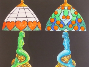 Two Mermaid Tiffany Lamps, part of Tiffany Delights 1999, designed by Graham Ogden © Blackpool Council