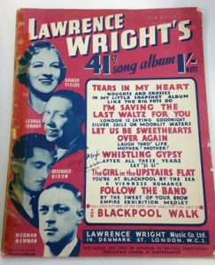 Lawrence Wright's 41 Song Album from the Cyril Critchlow Collection, Blackpool Local and Family History Centre/Blackpool Council