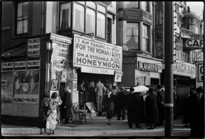 View of Colonel Barker's sideshow 'On a Strange Honeymoon'. Taken by Humphrey Spender 1937. © Bolton Council
