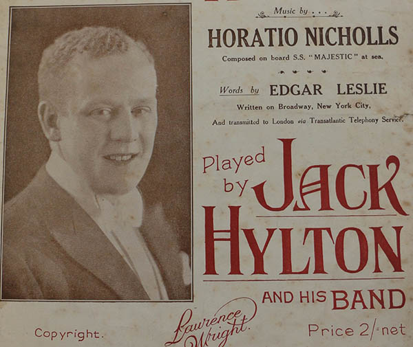 Portrait of Jack Hylton taken from a sheet music cover © Blackpool Council.
