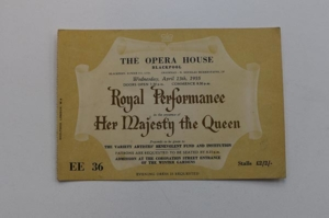 Image of ticket to the Royal Variety Performance, Blackpool, 1955 © Blackpool Council.