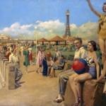 Blackpool, painting; oil painting; poster artwork, Matania, Fortunino; London, Midland & Scottish Railway, c.1925